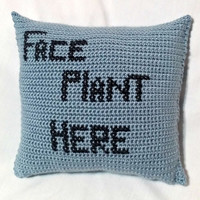 Crochet Funny Pillow, Faceplant Here Pillow, Crochet stuffed pillow, Light Blue Pillow, Crochet Travel Pillow, Crochet Humor Cushion