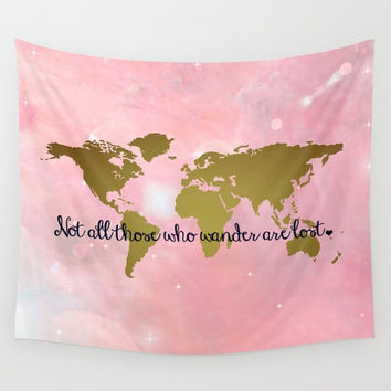 Faux Gold Foil World Map Wall Tapestry, Wall Hanging, World Map Decor, Home Decor, World Map Art, Map of the World, Gold + Pink Galaxy Decor