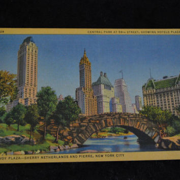 Vintage - CT Art Colortone Postcard Central Park at 59th Street, Showing Hotels Plaza