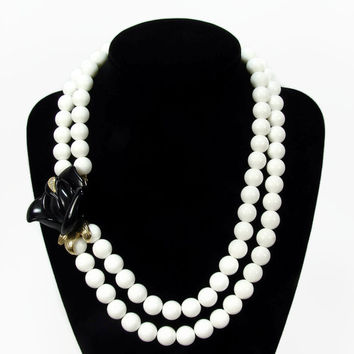 Kenneth Jay Lane for Avon Necklace, Midnight Rose, Vintage Jewelry, KJL Avon, Vintage Necklace, Black Rose, White Necklace, Bead Necklace
