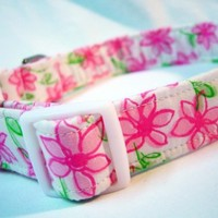 Lilly Pulitzer Pink Daisy Fabric Dog Collar from Pinkys Pet Gear on Etsy