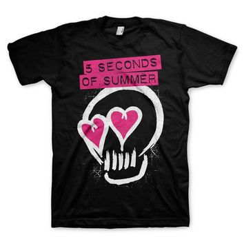5-Seconds Of Summer Heart Skull - Black T-Shirt