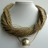 Jewerly Beige Linen Necklace with Large Silver Round Bead