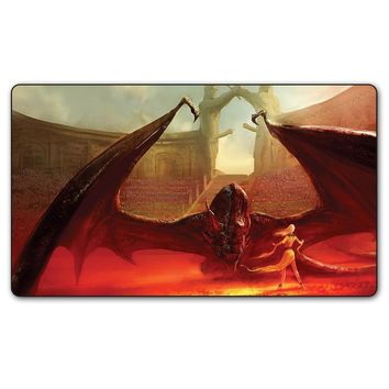 Custom Print Game of Thrones Fantasy Dragon Fire Playmat, Khaleesi and His Dragon Game Playmat 35x60cm