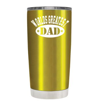 Worlds Greatest Dad on Translucent Gold 20 oz Tumbler Cup
