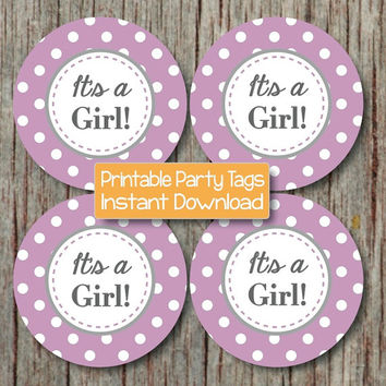 INSTANT DOWNLOAD Printable Baby Shower Stickers Cupcake Toppers Favor Tags It's a Girl Decoration diy Party Supplies Purple Grey Chevron 112