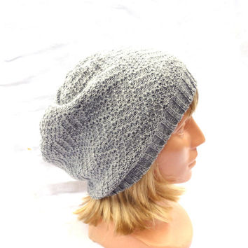 Knitted gray wool beanie hat, knit grey lace hat, knitting women men cap, adult hat, handmade accessories, winter spring beanie, cloche