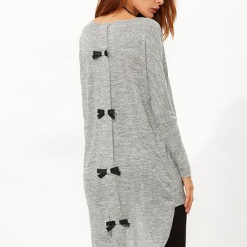 Marled Knit Bow Back High Low T-shirt