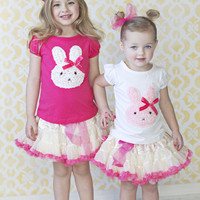 Champagne & Hot Pink Dots Reversible Tutu Skirt