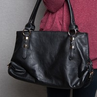 Lucky 21 Faux Leather Tote Handbag With Ring & Buckle Accents - Black