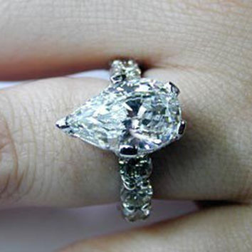 7.33ct Pear Shape Diamond Engagement Ring GIA certified 18kt White Gold JEWELFORME BLUE