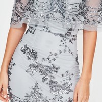 Missguided - Silver Sequin Bardot Dress