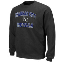 Majestic Kansas City Royals Heart and Soul Crewneck Fleece Sweatshirt - Charcoal