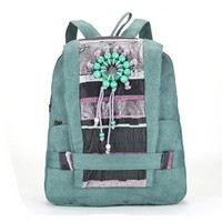 CrazyPomelo Handmade Bohemian Wood Beads Canvas Backpack - Blue