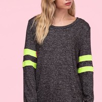 Neon Stripes Sweatshirt - Charcoal and Neon Green