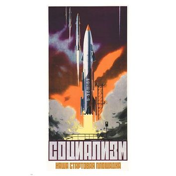 SOCIALISM IS OUR LAUNCHING PAD vintage 1962 poster Soviet Union 24X36 RARE!