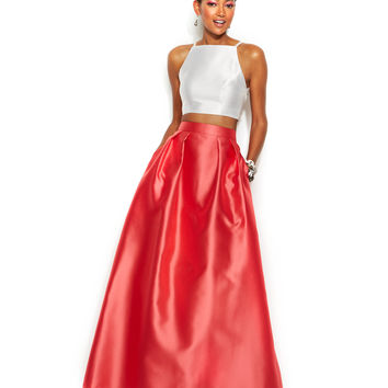 Xscape Contrast Halter Crop Top and Ball Skirt