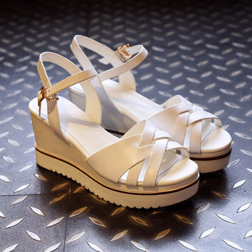 Stylish Design Summer Leather Wedge Permeable Shoes Sandals [4920288900]