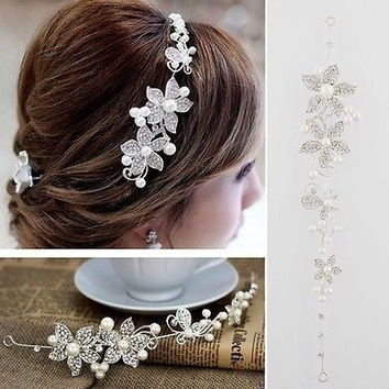Clear Crystal Rhinestone Faux Pearl Flower Party Bridal Headband Hair Band Tiara = 1932676100