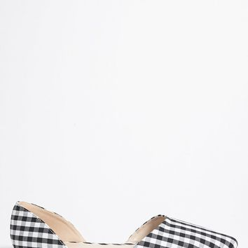Gingham Pointed Toe Flats