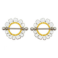 Nipple Ring Daisy Flower Bar Body Jewelry Pair Sold As Pair