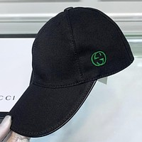 GUCCI New fashion embroidery letter hat cap women Black