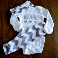 Baby Girl Gift Set - Chevron Leggings, Headband and Onesuit Set - Love Onesuit with grey chevron leggings and headband