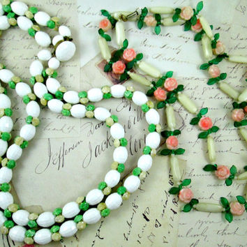 Vintage Hong Kong Beaded Necklaces Floral Theme Plastic Lucite Beads White Faceted Green Leaves Roses Rosettes Wear Repurpose Craft Upcycle