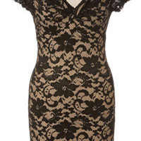 Baylis & Knight Black Nude LACE  POLLY Twist Pencil Wiggle Dress Burlesque Dita Pin Up Short Sleeve
