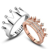 Crown Series Silver And Rose Gold Fashion Style Princess Couple Rings