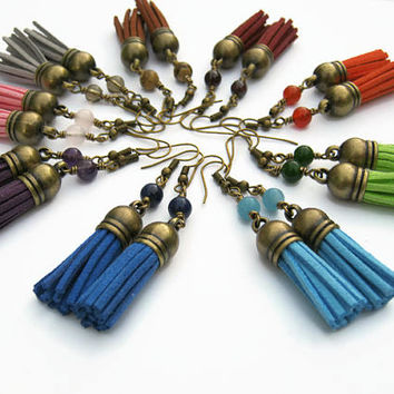 CHOOSE Your Chakra Tassel Earrings, Gemstone Earrings, Faux Leather Tassel Earrings, Boho Dangle Earrings, Vegan Earrings, Antiqued BRONZE