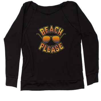 Beach Please Sunglasses Slouchy Off Shoulder Oversized Sweatshirt