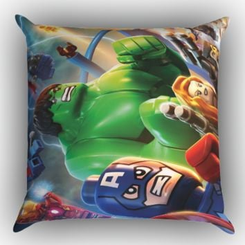 lego marvel super heroes wallpaper Y1228 Zippered Pillows  Covers 16x16, 18x18, 20x20 Inches