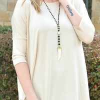 Piko 3/4 Length Sleeve Top - Beige