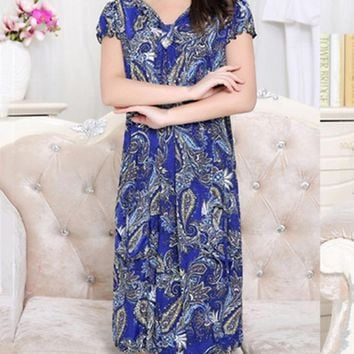 Casual V-Neck Patch Pocket Midi Shift Dress In Paisley Printed
