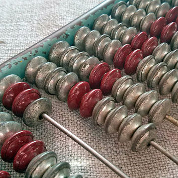 old small abacus, school abacus, metal abacus,accounting,  Vintage, Home decor, geek, found object, commercial, Something Old, My wealth