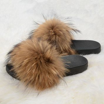 New Women Real Fur Fluffy Warm Fashion Sandal Slipper Slider Shoes Indoor 26022