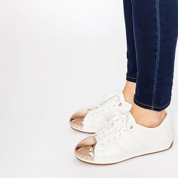 ALDO Rafa White Metal Toe Cap Trainers