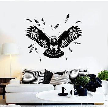 Vinyl Wall Decal Flying Owl Tribal Night Bird Feathers Wings Stickers Mural (g1607)