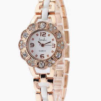 Floral Pattern with Rhinestone Accent Wrist Watch