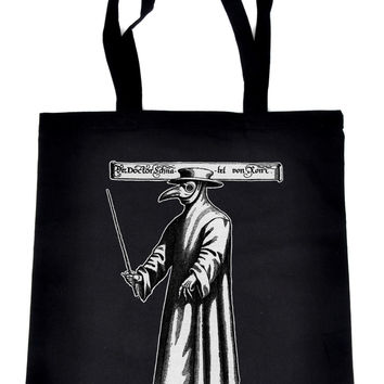 Death Plague Doctor Tote Book Bag with Bird Mask Handbag