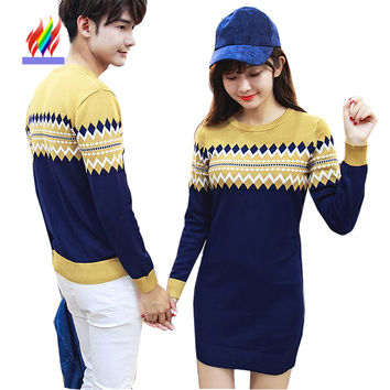 2 Colors Couples Clothing Christmas Gift Lovers Men Women Casual Tops Outerwear Printed Cute Sweet Koran Matching Couple Sweater
