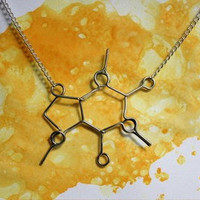 Caffeine Molecule Necklace - Coffee Lover Jewelry - Gift for friend, co worker, boss, sister, mom, coffee lover, for her, under 30