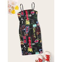 SHEIN Graffiti Print Cami Bodycon Dress