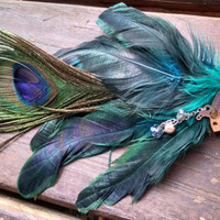 Handmade Steampunk w/Peacock Blue/Black Feather Hairpiece with Vintage Clock Parts For Cosplay, Halloween Costume, Faire, Masquerade