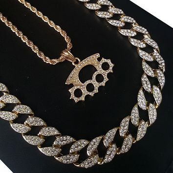 """New 14k Gold PT Gangster Knuckle 15mm Iced Out Miami Cuban 30"""" Necklace S185"""