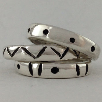 Size 4 Vintage Sterling Silver Stacking Rings