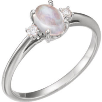 14K Yellow Rainbow Moonstone & .06 CTW Diamond Ring