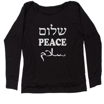 World Peace (Hebrew English Arabic)  Slouchy Off Shoulder Oversized Sweatshirt