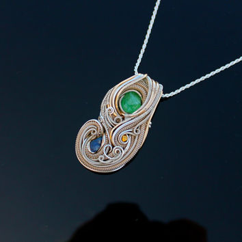 Tsavorite Garnet Electric Green gold sapphire heady Wire wrap wrapped necklace pendant